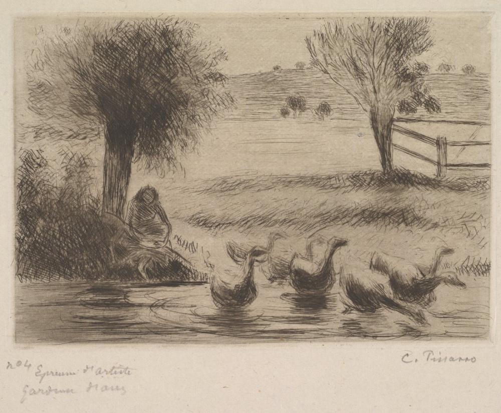 Camille Pissarro Gooses With Girl, Canvas, Camille Pissarro, kanvas tablo, canvas print sales