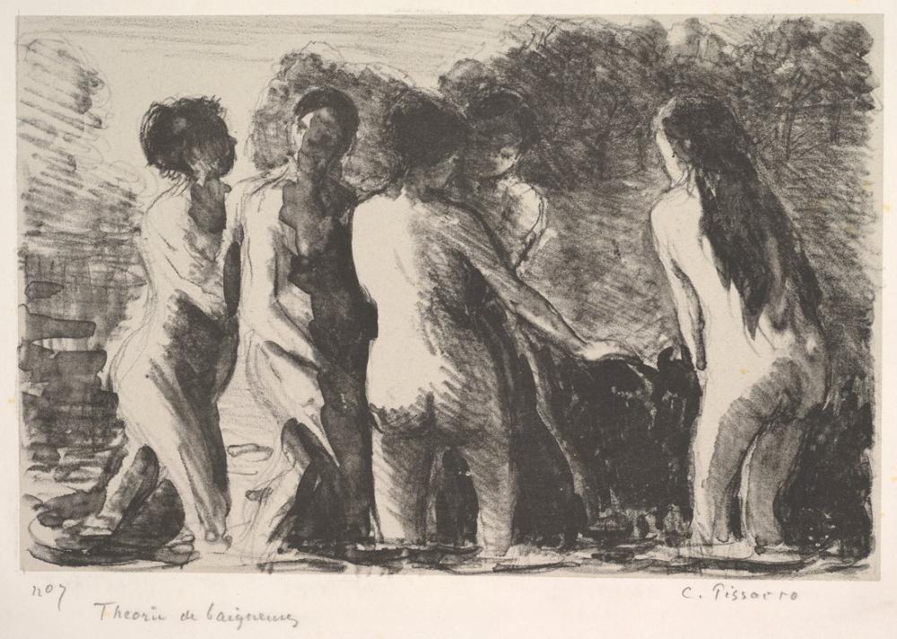 Camille Pissarro Banyo Yapanlar Grubu, Kanvas Tablo, Camille Pissarro