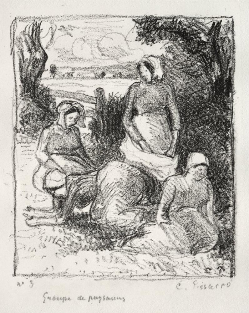 Camille Pissarro Köylüler Grubu, Kanvas Tablo, Camille Pissarro