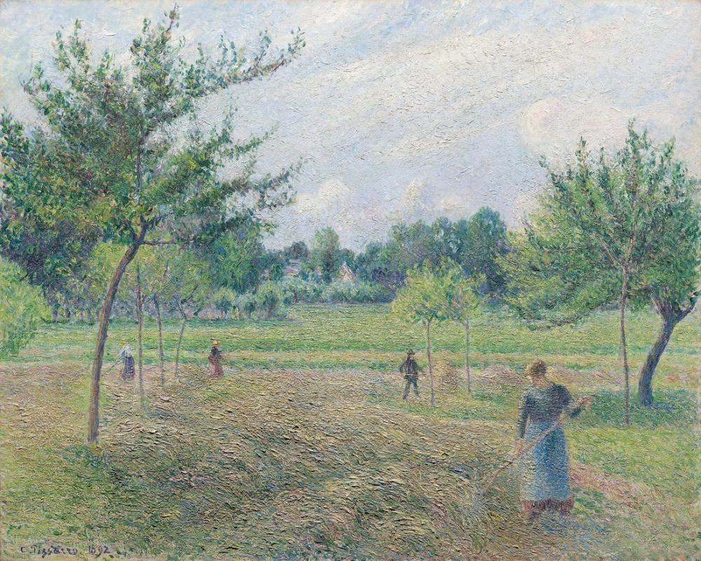 Camille Pissarro Eragny Sanat Enstitüsü Kuru Ot Üretimi, Kanvas Tablo, Camille Pissarro