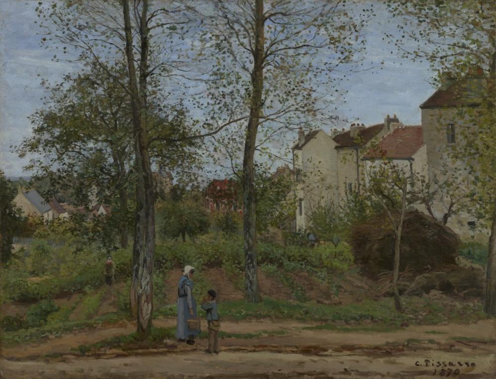 Camille Pissarro Bougival Sonbahar Evleri, Kanvas Tablo, Camille Pissarro