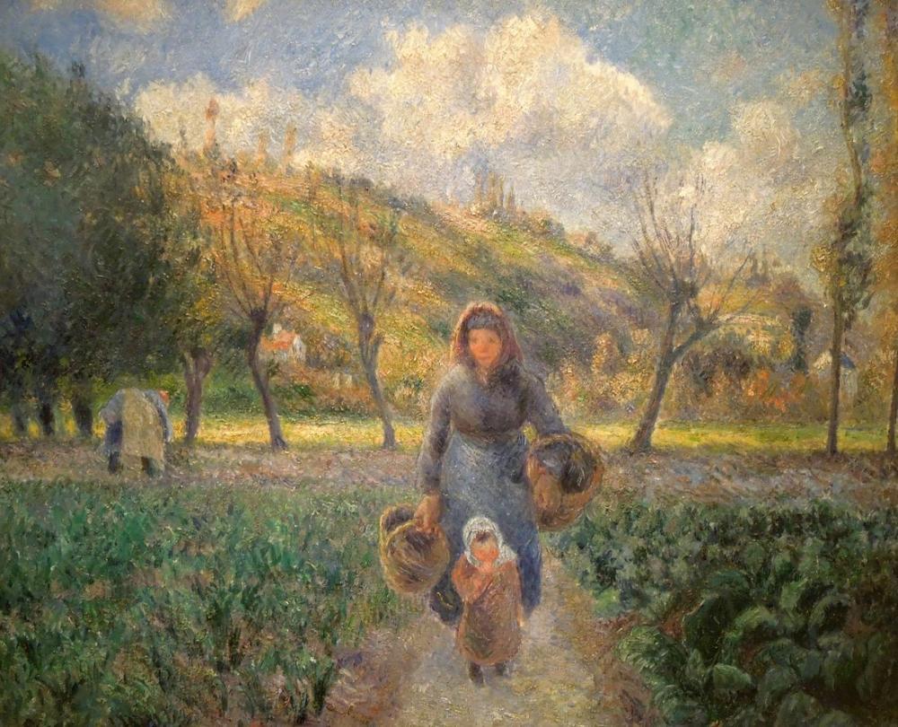 Camille Pissarro Sebze Bahçesinde, Kanvas Tablo, Camille Pissarro