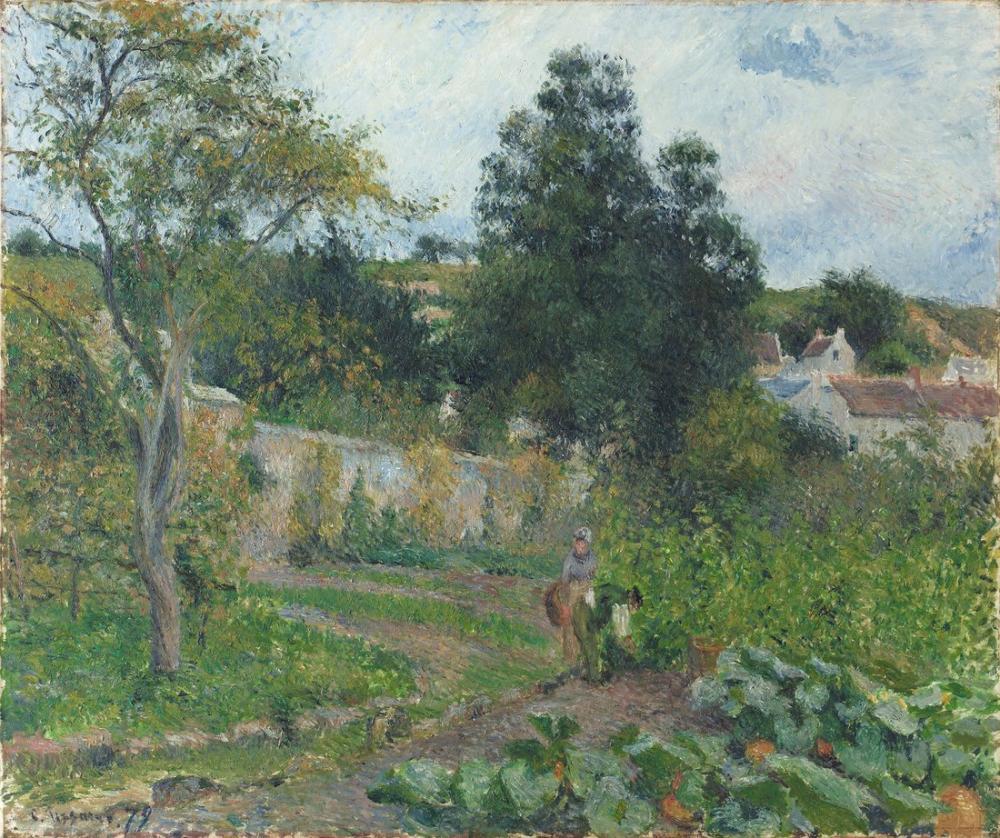 Camille Pissarro Pontoise Hermitage Sebze Bahçesi, Kanvas Tablo, Camille Pissarro