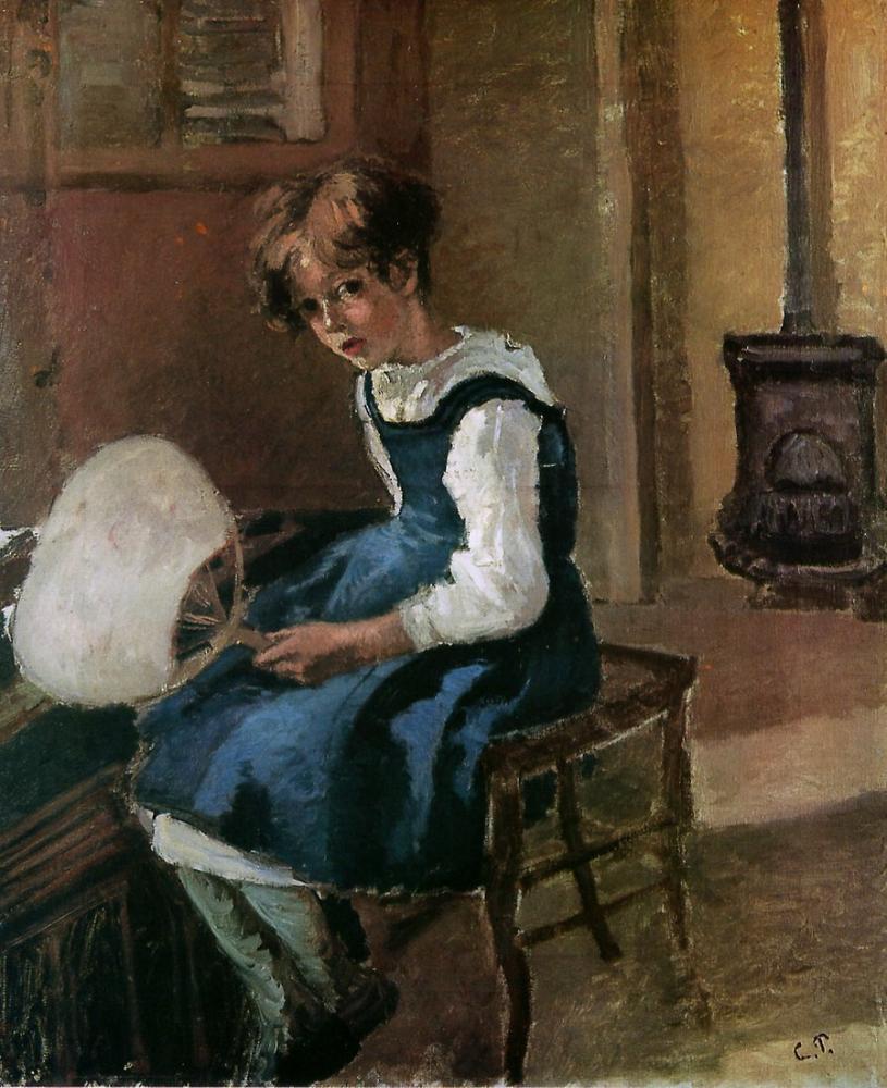 Camille Pissarro Jeanne Hayranı Tutuyor, Kanvas Tablo, Camille Pissarro, kanvas tablo, canvas print sales