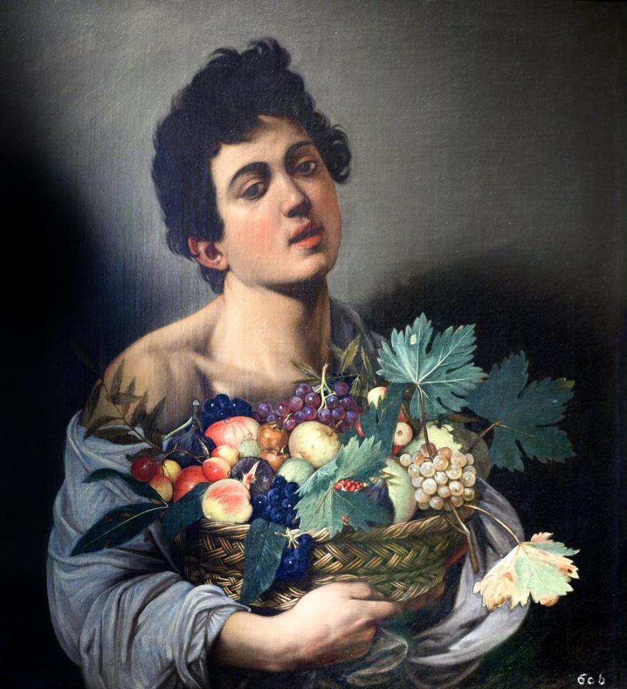 Caravaggio Meyve Sepeti Çocukla, Kanvas Tablo, Caravaggio
