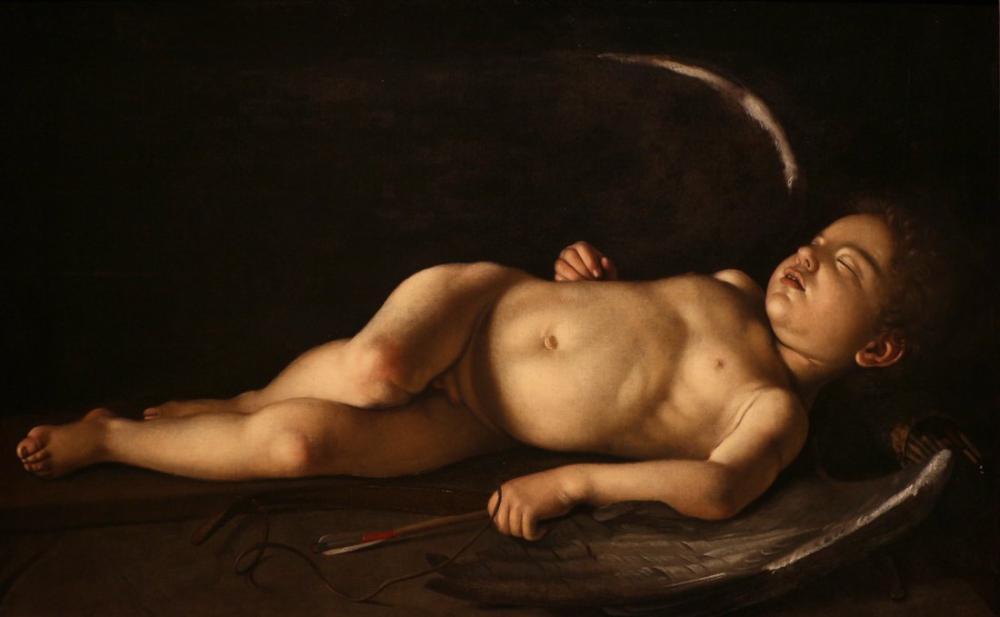 Caravaggio Uyuyan Aşk Tanrısı, Kanvas Tablo, Caravaggio