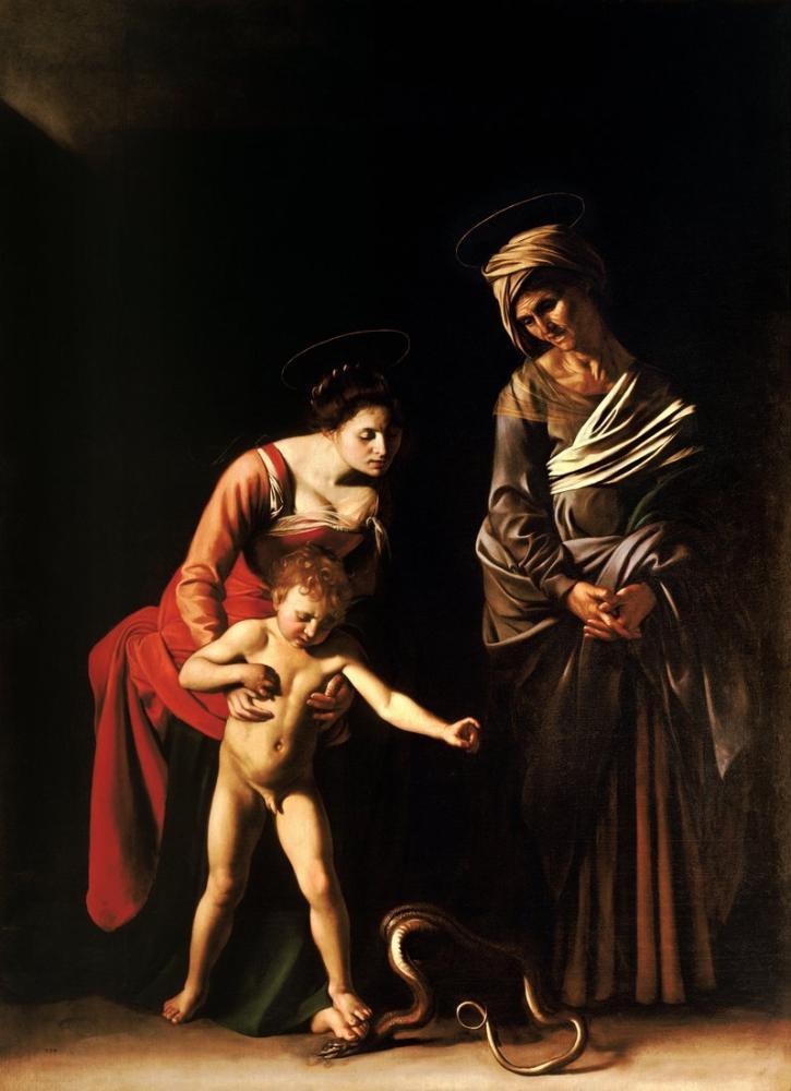 Caravaggio Madonna Ve Aziz Anne İle Çocuk, Kanvas Tablo, Caravaggio