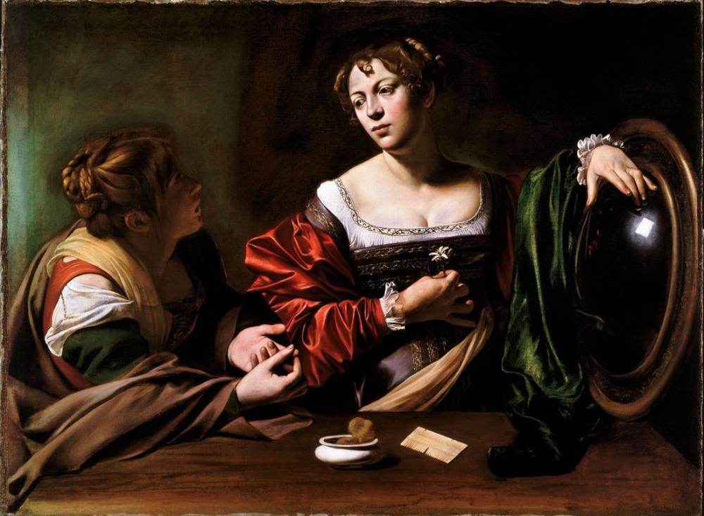 Caravaggio Martha Ve Mary Magdalene, Kanvas Tablo, Caravaggio
