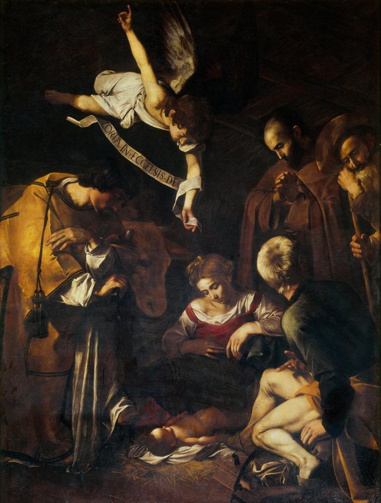 Caravaggio Francis Ve St Lawrence İle Doğuş, Kanvas Tablo, Caravaggio