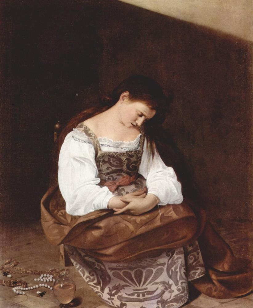 Caravaggio Penitent Magdalene, Kanvas Tablo, Caravaggio