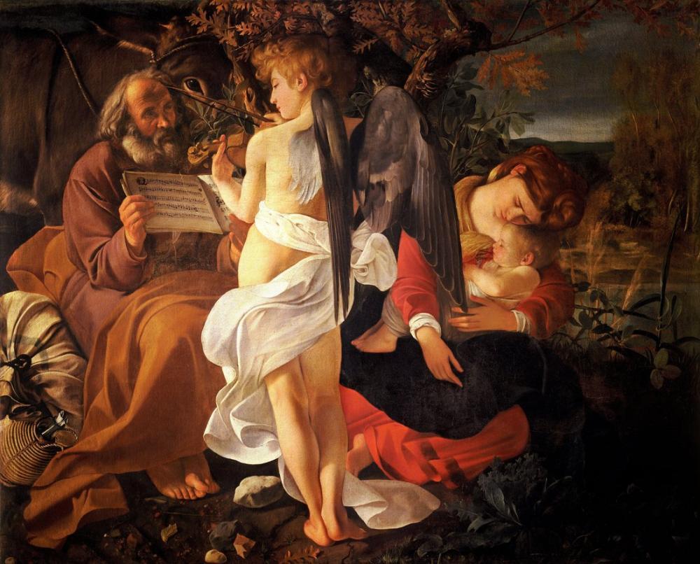 Caravaggio Mısır Uçuşunda Dinlenin, Kanvas Tablo, Caravaggio, kanvas tablo, canvas print sales
