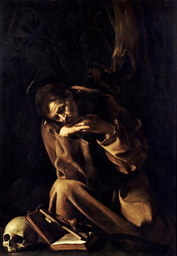 Caravaggio Meditasyonda Aziz Francis, Kanvas Tablo, Caravaggio