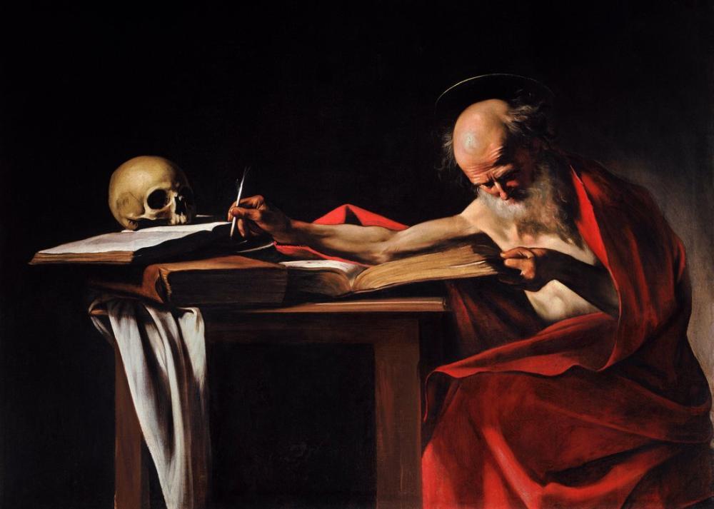 Caravaggio Saint Jerome Yazma I, Kanvas Tablo, Caravaggio