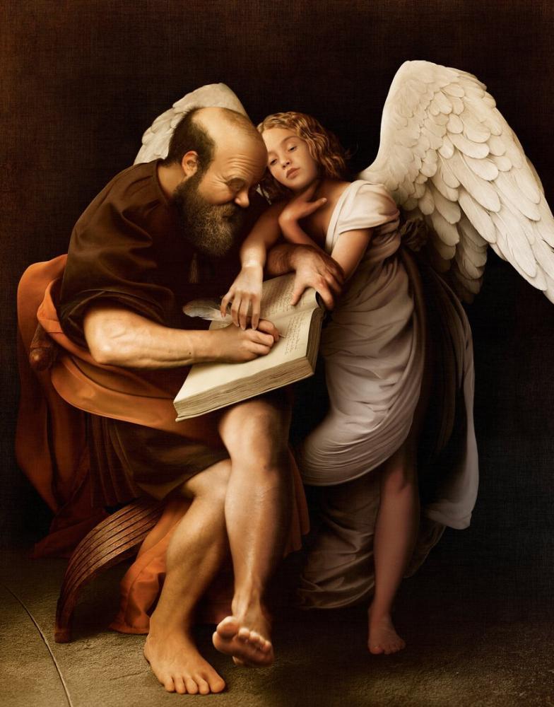 Caravaggio Saint Matthew Ve Melek, Kanvas Tablo, Caravaggio