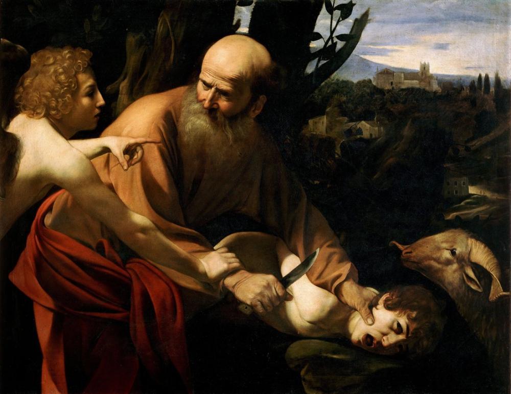 Caravaggio İshak Kurbanı, Kanvas Tablo, Caravaggio