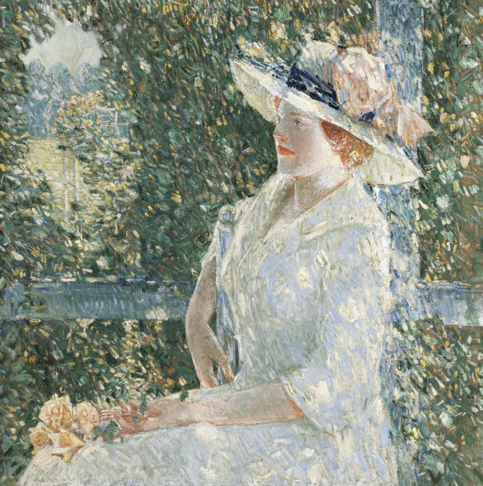 Childe Hassam, Bayan Weir'in Açık Havada Bir Portresi, Kanvas Tablo, Childe Hassam