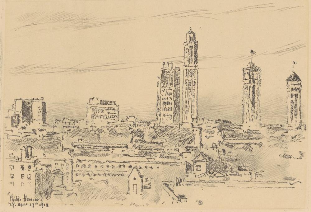 Childe Hassam, New York Sky Line Işık Binaları, Kanvas Tablo, Childe Hassam