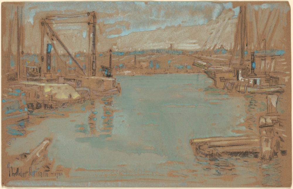 Childe Hassam, Kuzey Nehri Rıhtımı New York, Kanvas Tablo, Childe Hassam
