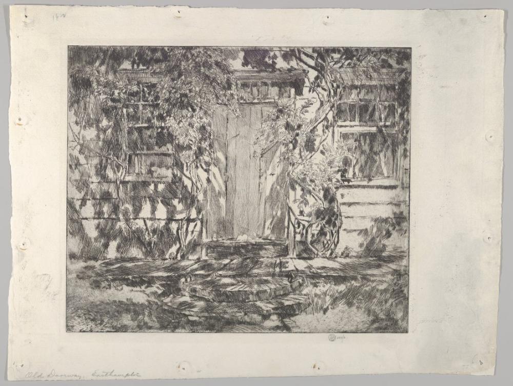 Childe Hassam, Eski Kapı Doğu Hampton Nathaniel Dominy Evi, Kanvas Tablo, Childe Hassam, kanvas tablo, canvas print sales
