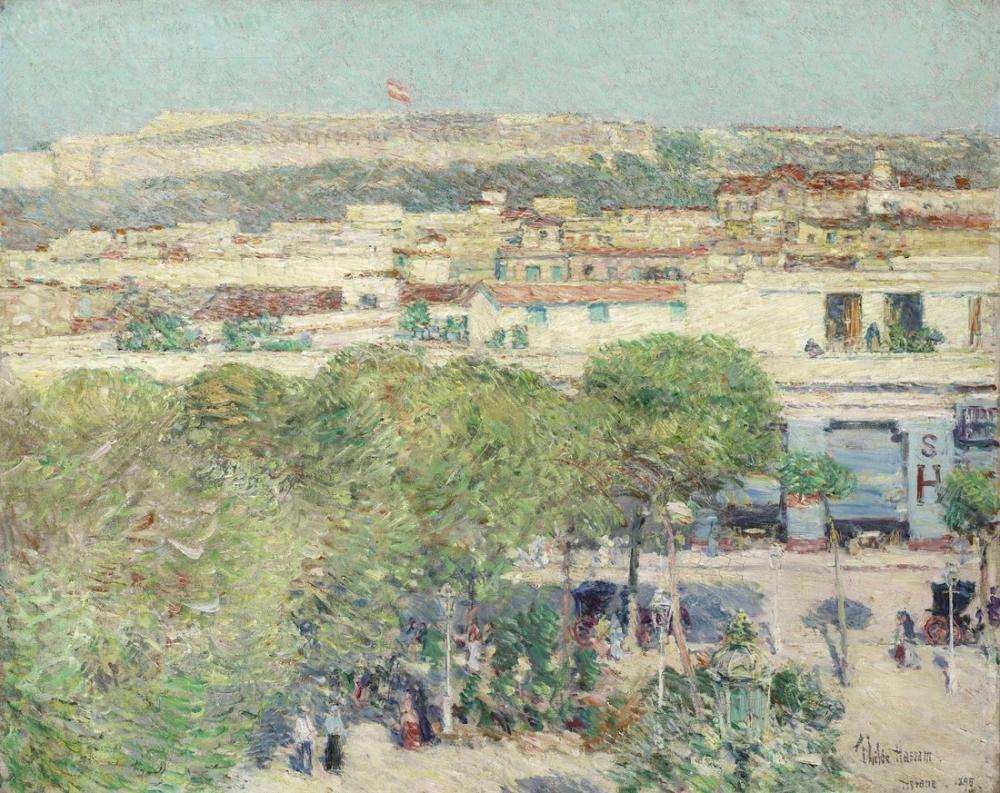 Childe Hassam, Place Centrale and Fort Cabanas Havana, Canvas, Childe Hassam, kanvas tablo, canvas print sales