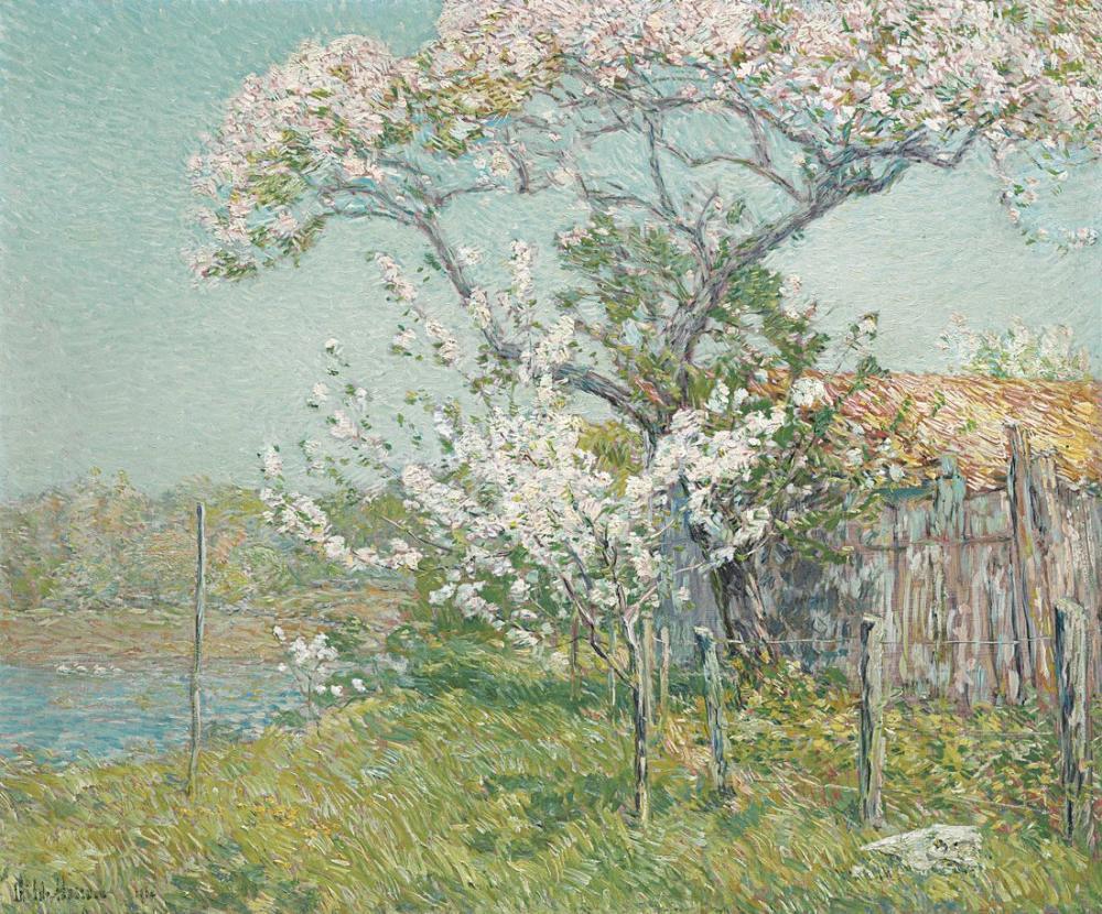 Childe Hassam, Çiçeklenme Eski lyme İçinde Elma Ağaçları, Kanvas Tablo, Childe Hassam