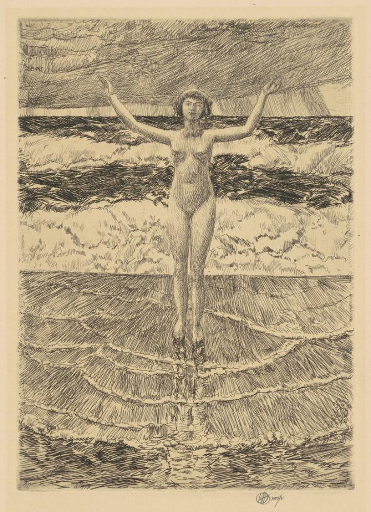 Childe Hassam, Yağmur Damlaları ve Sörf, Kanvas Tablo, Childe Hassam