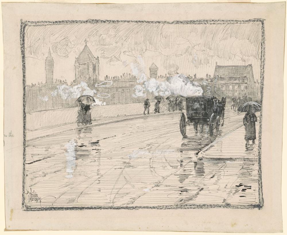 Childe Hassam, Yağmurlu Gün Boston, Kanvas Tablo, Childe Hassam