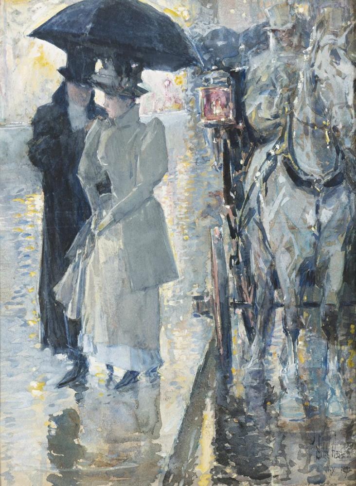Childe Hassam, Yağmurlu Bir Gün New York, Kanvas Tablo, Childe Hassam, kanvas tablo, canvas print sales