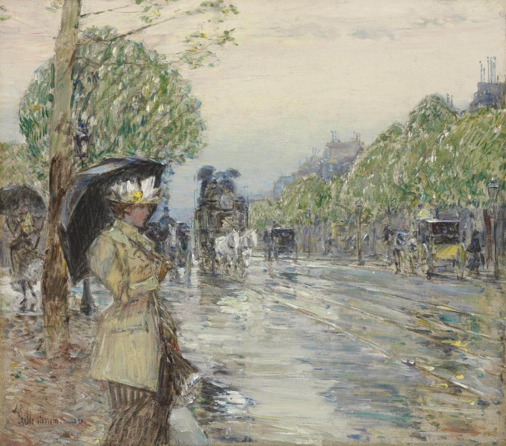 Childe Hassam, Rainy Day on Avenue, Canvas, Childe Hassam, kanvas tablo, canvas print sales