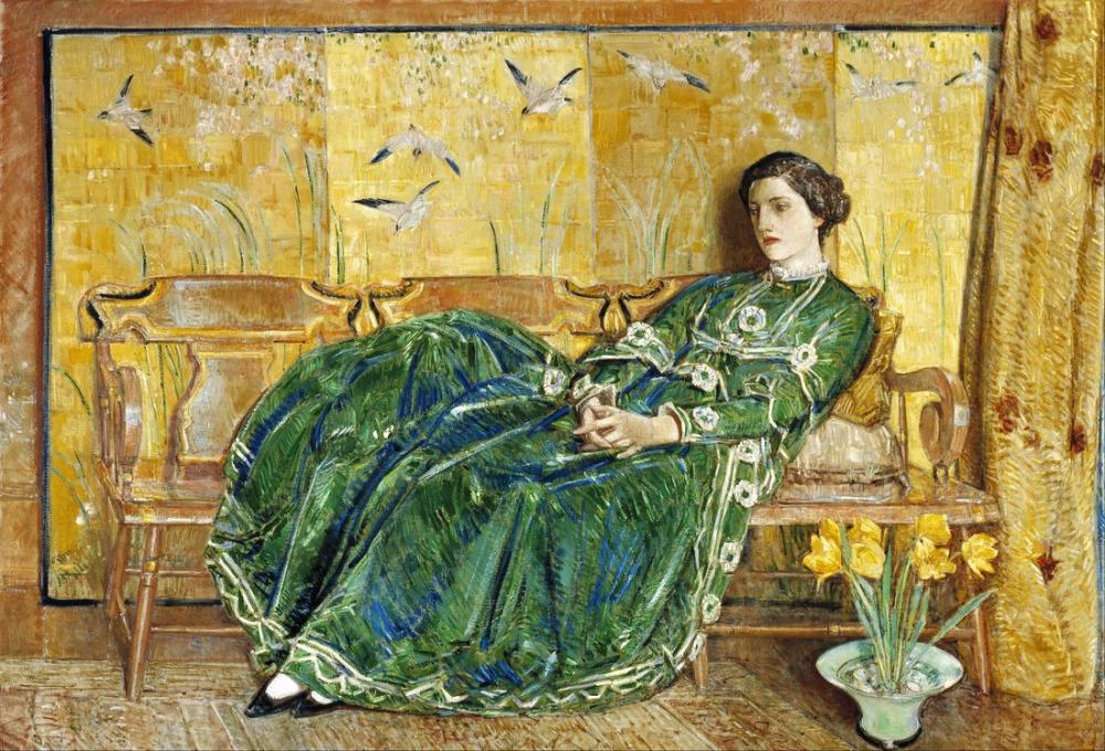 Childe Hassam, Nisan Yeşil Kıyafeti, Kanvas Tablo, Childe Hassam