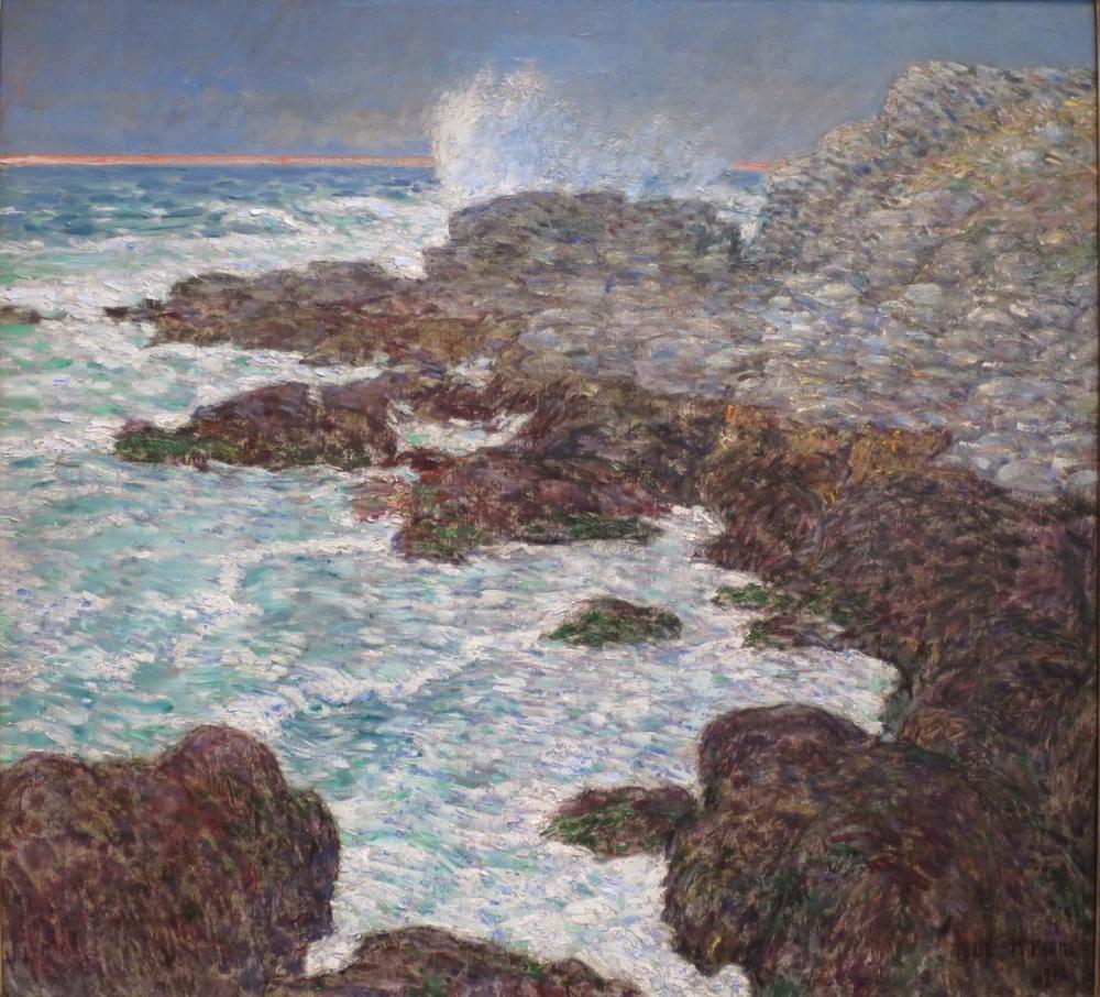 Childe Hassam, Deniz Yosunu ve Günbatımında Kıyıya Vuran Köpüklü Dalgalar Appledore, Kanvas Tablo, Childe Hassam