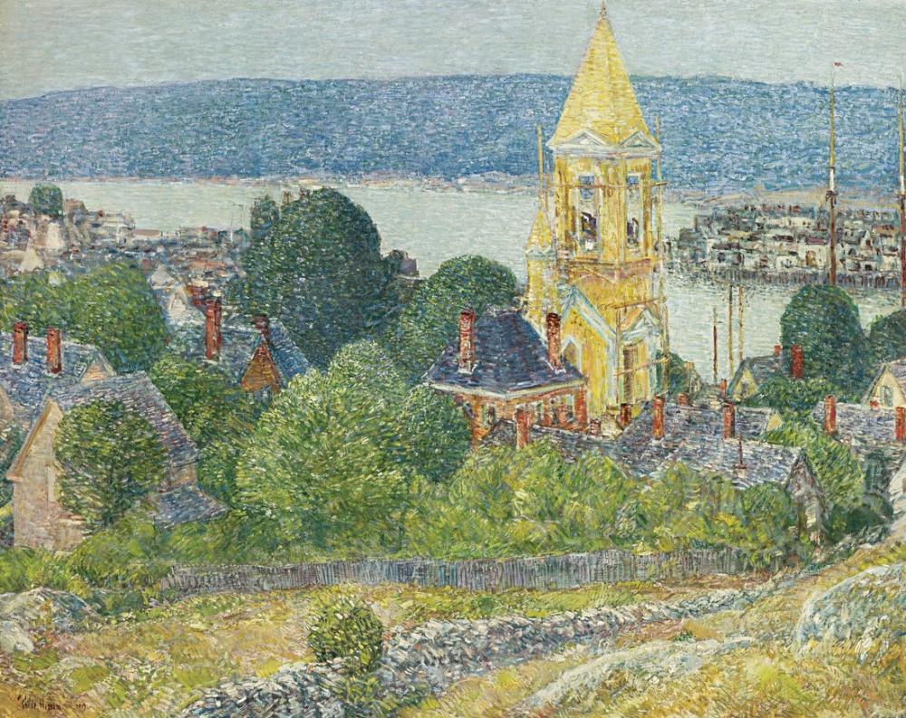 Childe Hassam, Gloucester'daki İlk Vaftiz Kilisesi, Kanvas Tablo, Childe Hassam