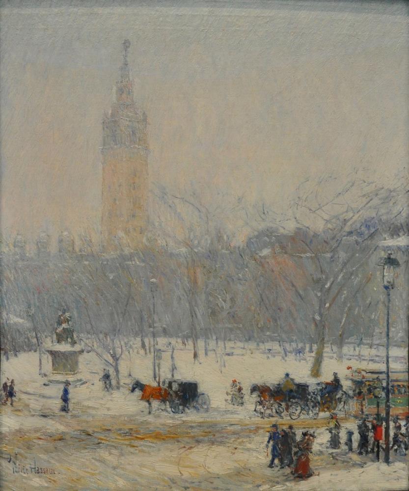 Childe Hassam, Kar Fırtınası Madison Square, Kanvas Tablo, Childe Hassam