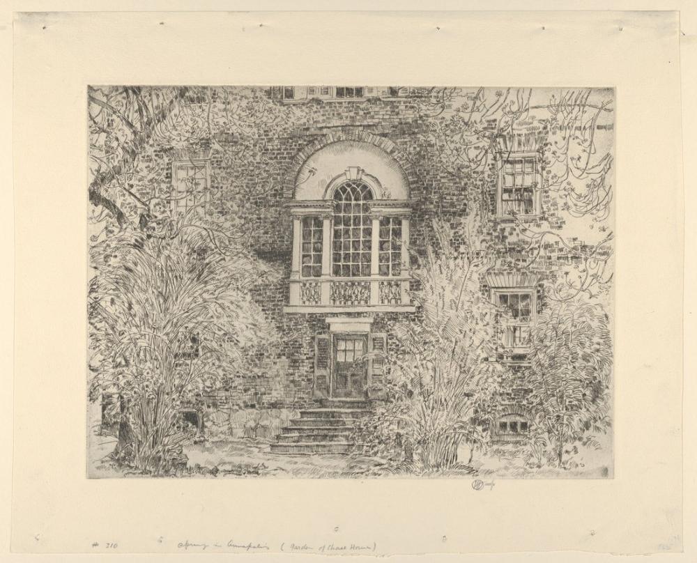 Childe Hassam, Annapolis Baharında Chase Evinin Arkası, Kanvas Tablo, Childe Hassam