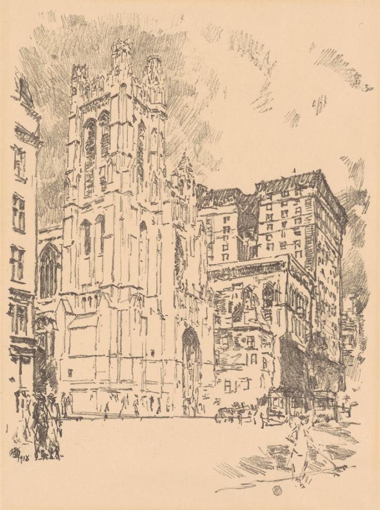 Childe Hassam, Aziz Thomas Kilisesi New York, Kanvas Tablo, Childe Hassam