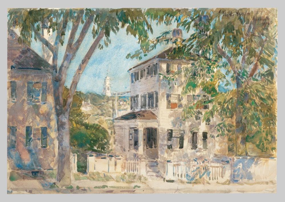 Childe Hassam, Street in Portsmouth, Canvas, Childe Hassam, kanvas tablo, canvas print sales