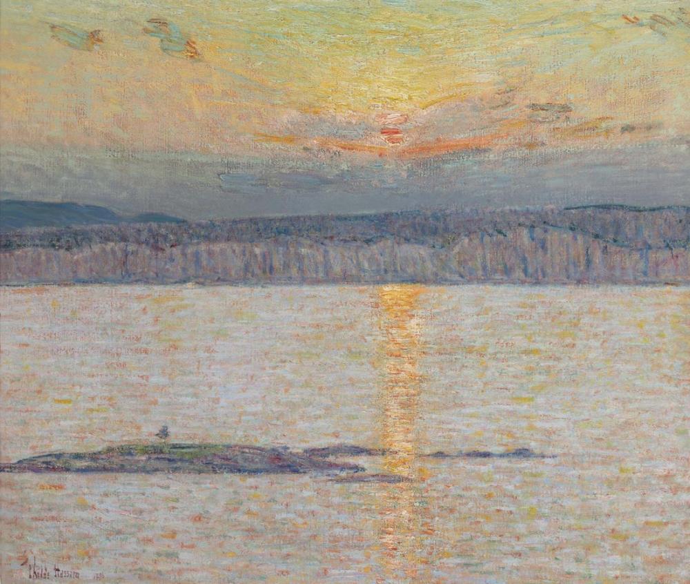 Childe Hassam, Gün batımı Ironbound Mt Desert Maine, Kanvas Tablo, Childe Hassam