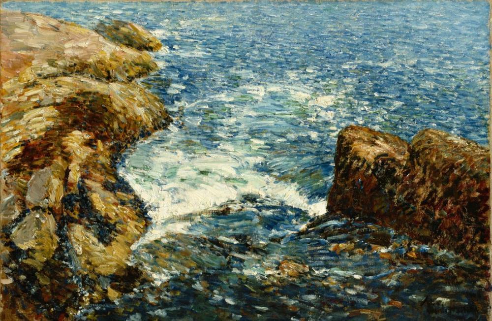 Childe Hassam, Kıyıya Vuran Köpüklü Dalgalar ve Kayalar, Kanvas Tablo, Childe Hassam, kanvas tablo, canvas print sales