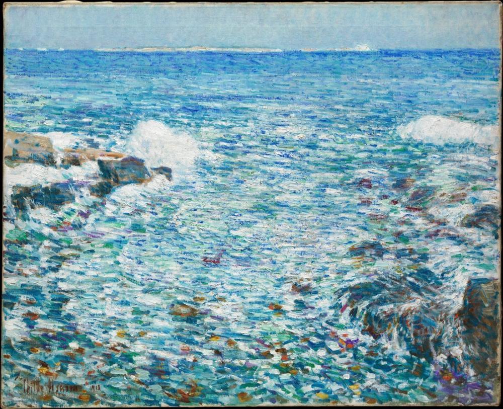 Childe Hassam, Shoals Adaları Kıyıya Vuran Köpüklü Dalgalar, Kanvas Tablo, Childe Hassam