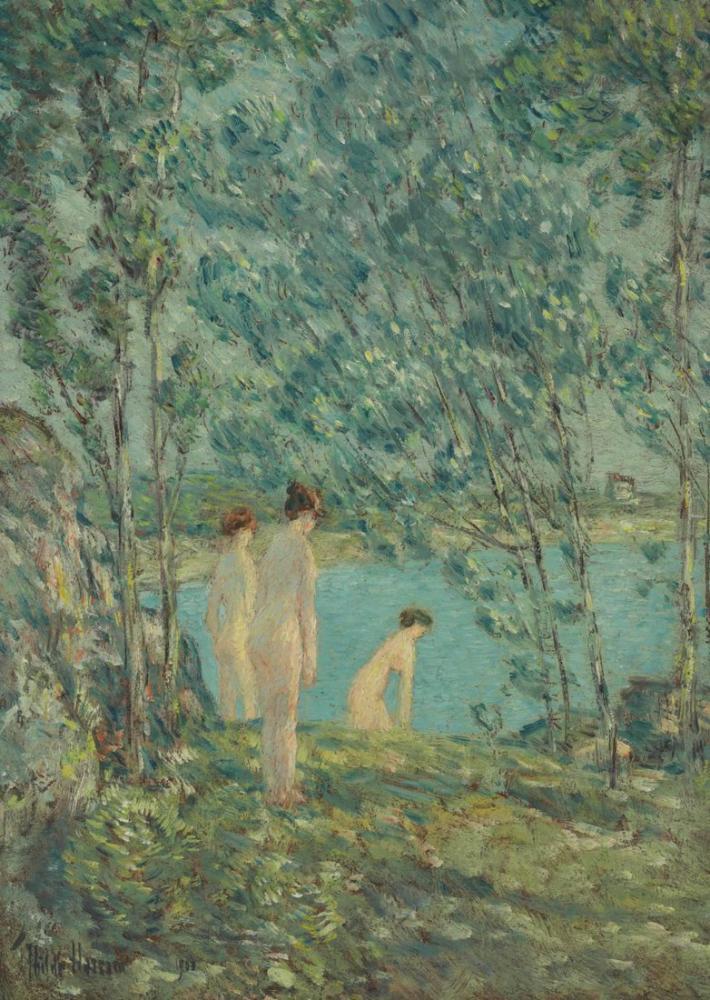 Childe Hassam, Banyo Yapanlar, Kanvas Tablo, Childe Hassam