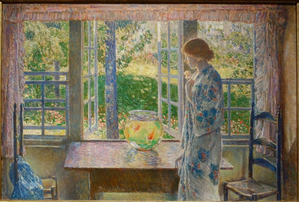 Childe Hassam, Akvaryum Balığı Penceresi, Kanvas Tablo, Childe Hassam