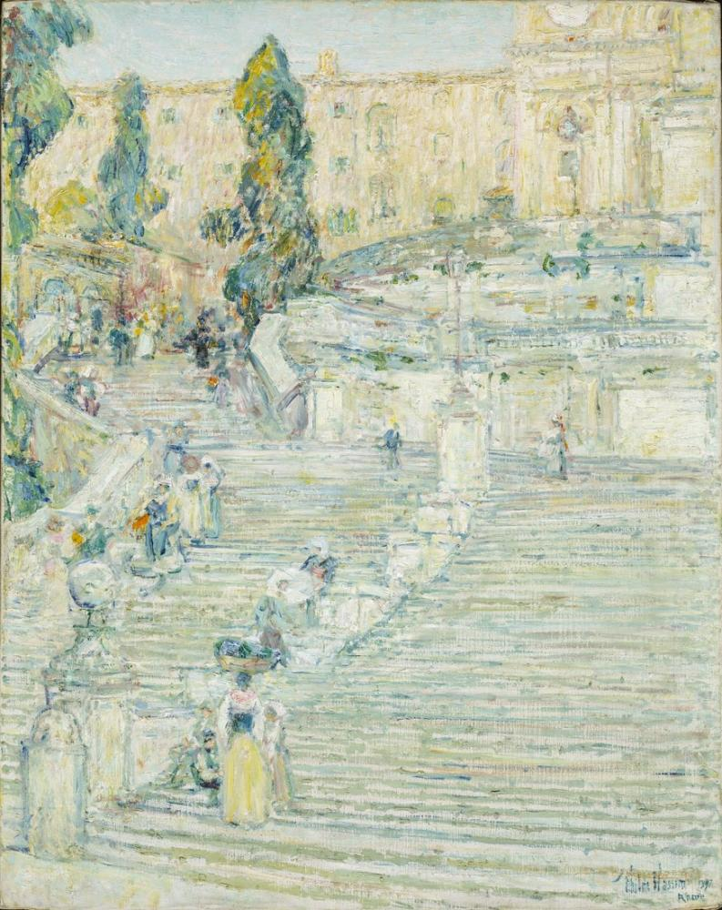 Childe Hassam, The Spanish Stairs Rome, Canvas, Childe Hassam, kanvas tablo, canvas print sales