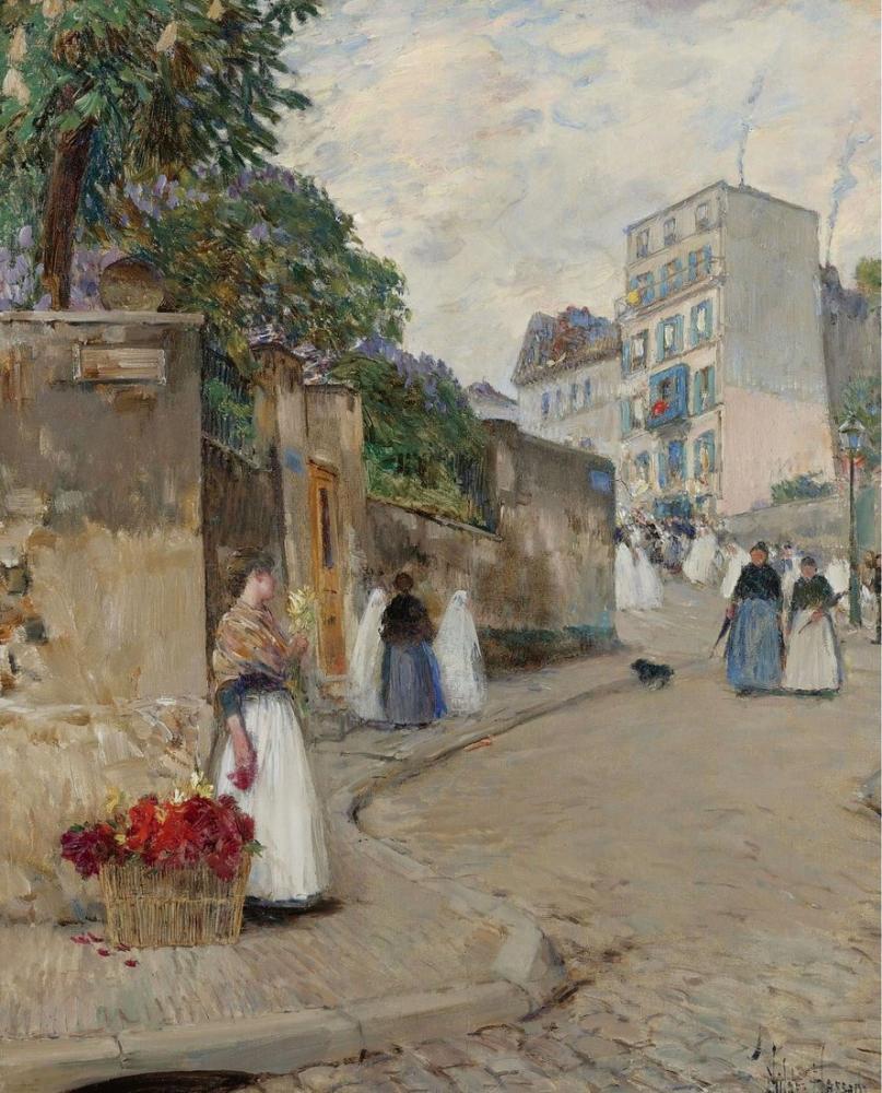 Childe Hassam, Montmartre Paris Sokağı, Kanvas Tablo, Childe Hassam, kanvas tablo, canvas print sales
