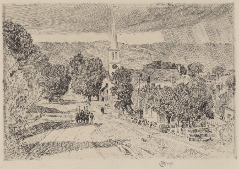 Childe Hassam, Doğu Hampton Köyü, Kanvas Tablo, Childe Hassam