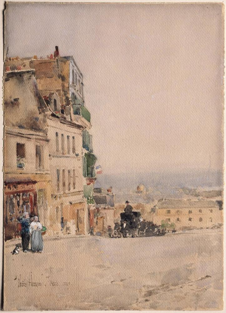 Childe Hassam, Montmartre Paris Görünümü, Kanvas Tablo, Childe Hassam, kanvas tablo, canvas print sales