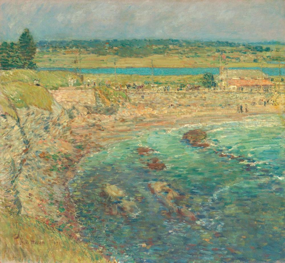Childe Hassam, Bailey s Plajı Yeni Liman, Kanvas Tablo, Childe Hassam, kanvas tablo, canvas print sales