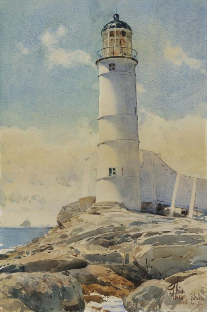 Childe Hassam, Beyaz Ada Deniz Feneri, Kanvas Tablo, Childe Hassam