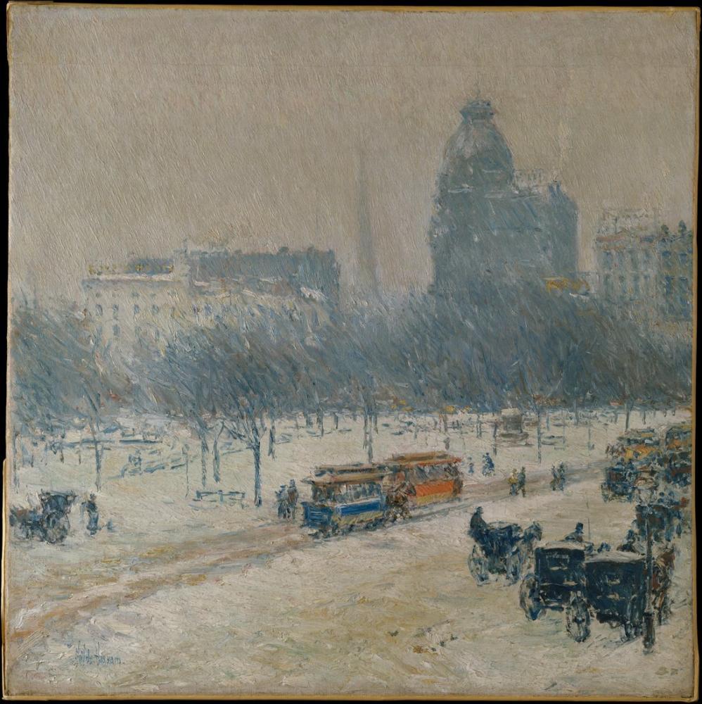 Childe Hassam, Winter in Union Square, Canvas, Childe Hassam, kanvas tablo, canvas print sales