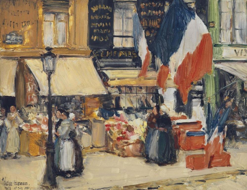 Childe Hassam, Bastille Günü Bulvarı Rochechouart Paris, Kanvas Tablo, Childe Hassam