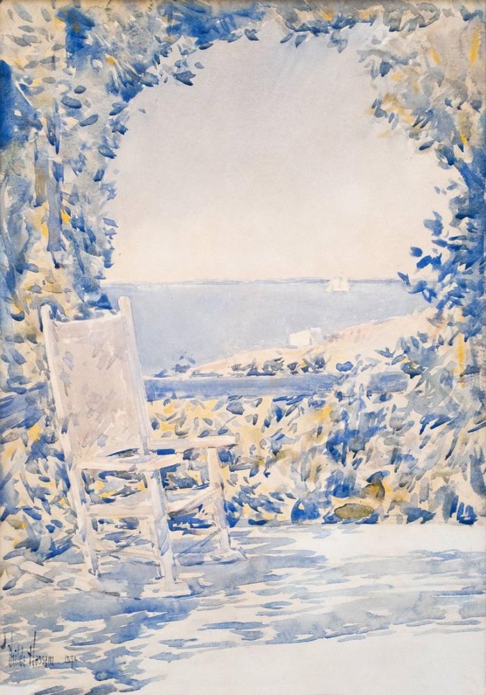 Childe Hassam, A Chair Back Sea, Canvas, Childe Hassam, kanvas tablo, canvas print sales